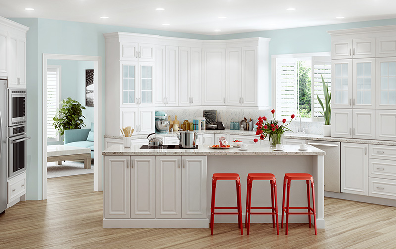 Elegant Home All Wood Cabinetry. Brighton In Polar White. Cambridge In Polar White
